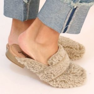 Free People Faux Sherling Loafer Mules